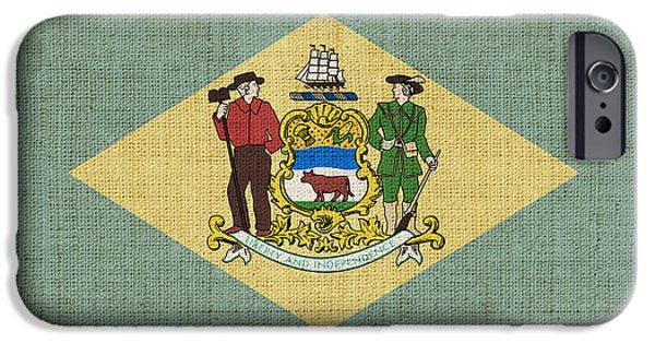 Declaration Of Independence Digital iPhone Cases - Delaware State Flag iPhone Case by Pixel Chimp