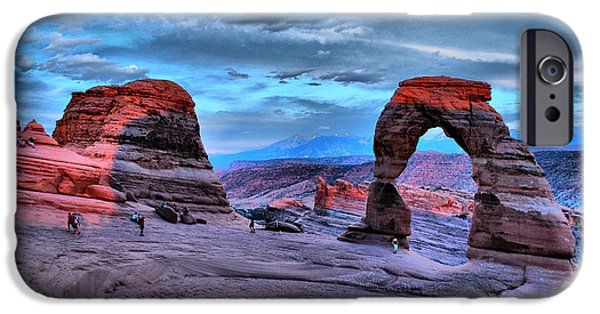National Park iPhone Cases - Delicate Arch at Sunset iPhone Case by Gregory Ballos