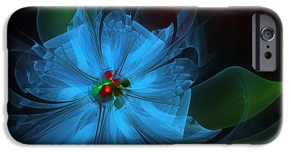 Abstract Flowers Images iPhone Cases - Delicate Blue Flower-Fractal Art iPhone Case by Karin Kuhlmann