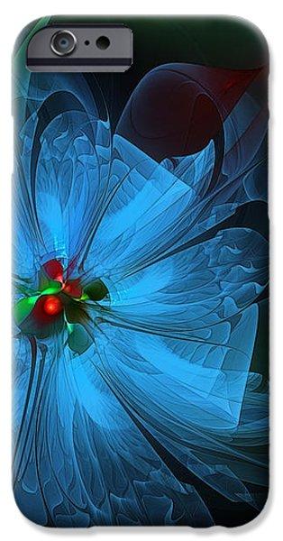 Delicate Blue Flower-Fractal Art iPhone Case by Karin Kuhlmann