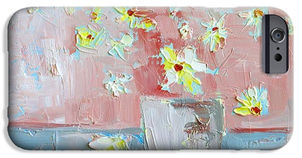 Abstract Forms iPhone Cases - Delicate Daisies iPhone Case by Patricia Awapara