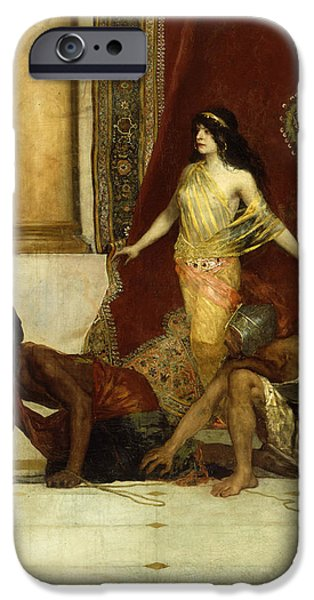 Seductive iPhone Cases - Delilah and the Philistines iPhone Case by Jean Joseph Benjamin Constant