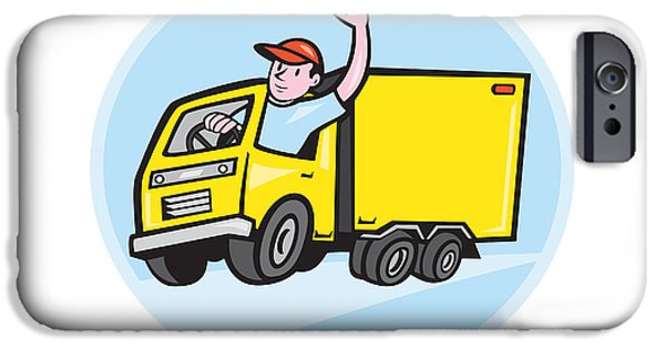 Delivery Truck iPhone Cases - Delivery Truck Driver Waving Cartoon iPhone Case by Aloysius Patrimonio