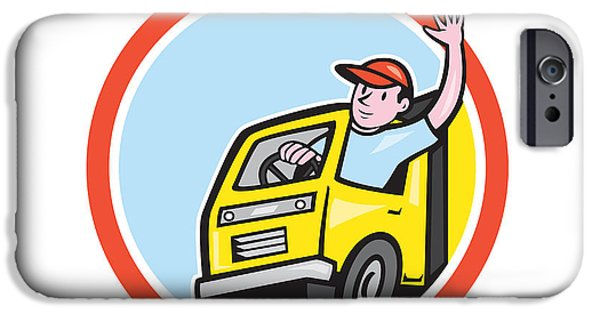 Delivery Truck iPhone Cases - Delivery Truck Driver Waving Circle Cartoon iPhone Case by Aloysius Patrimonio