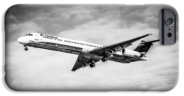 Dc Photographs iPhone Cases - Delta Air Lines Airplane in Black and White iPhone Case by Paul Velgos