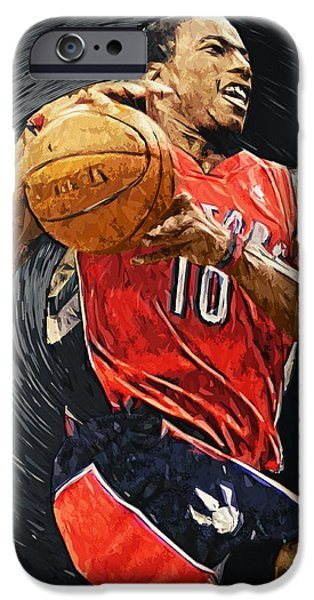 American Basketball Player iPhone Cases - DeMar DeRozan iPhone Case by Taylan Soyturk