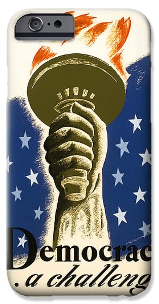 Constitution iPhone Cases - DEMOCRACY ... a challenge W P A POSTER c. 1938 iPhone Case by Daniel Hagerman