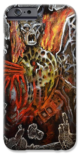 Mascots Mixed Media iPhone Cases - Demon escape iPhone Case by Jakub DK