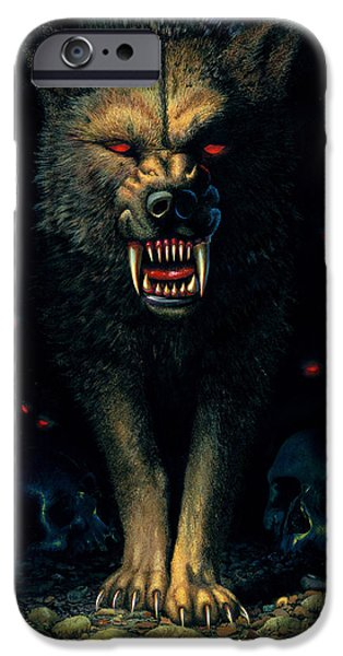 Portrait iPhone Cases - Demon Wolf iPhone Case by MGL Studio - Chris Hiett
