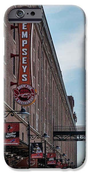 Camden Yards Stadium iPhone Cases - Dempseys Brew Pub iPhone Case by Susan Candelario