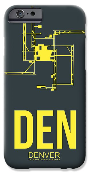 Colorado Mixed Media iPhone Cases - DEN Denver Airport Poster 1 iPhone Case by Naxart Studio