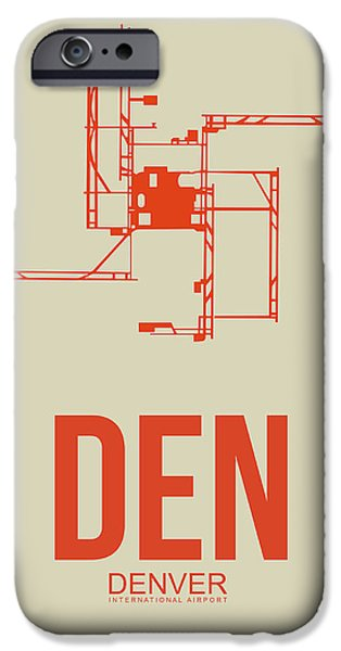 Town Mixed Media iPhone Cases - DEN Denver Airport Poster 2 iPhone Case by Naxart Studio