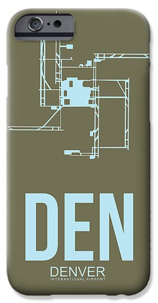 Colorado Mixed Media iPhone Cases - DEN Denver Airport Poster 3 iPhone Case by Naxart Studio