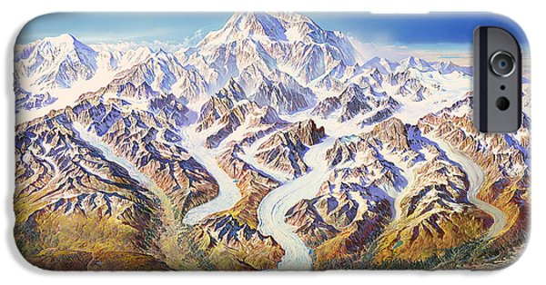 Crayons Drawings iPhone Cases - Denali National Park iPhone Case by Heinrich Berann NPS