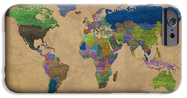 Denim iPhone Cases - Denim Map of the World Jeans Texture on Worn Canvas Paper iPhone Case by Design Turnpike