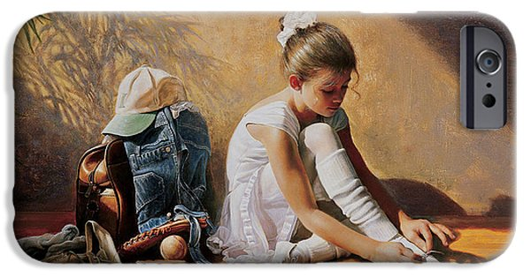 Girl iPhone Cases - Denim to Lace iPhone Case by Greg Olsen