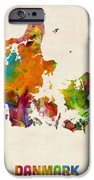 Denmark iPhone Cases - Denmark Watercolor Map iPhone Case by Michael Tompsett