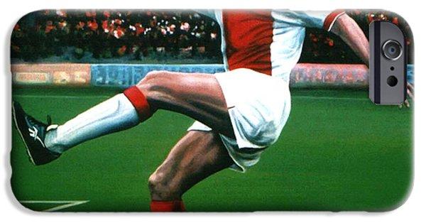 Stadiums Paintings iPhone Cases - Dennis Bergkamp Ajax iPhone Case by Paul  Meijering