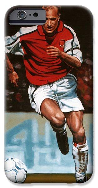Stadiums Paintings iPhone Cases - Dennis Bergkamp iPhone Case by Paul  Meijering