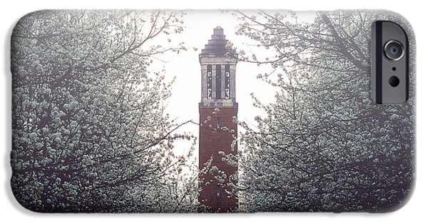 University Of Alabama iPhone Cases - Denny Chimes Foggy Blossoms iPhone Case by Ben Shields
