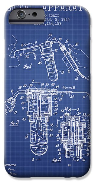 Surgery iPhone Cases - Dental Apparatus patent drawing from 1965 - Blueprint iPhone Case by Aged Pixel