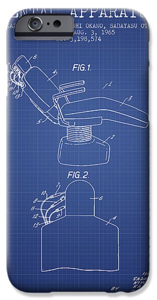 Surgery iPhone Cases - Dental Apparatus patent from 1965 - Blueprint iPhone Case by Aged Pixel