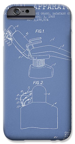 Surgery iPhone Cases - Dental Apparatus patent from 1965 - Light Blue iPhone Case by Aged Pixel