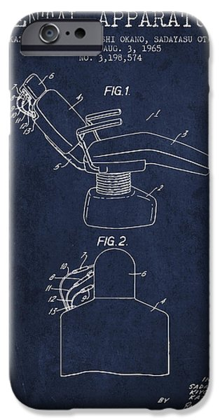 Surgery iPhone Cases - Dental Apparatus patent from 1965 - Navy Blue iPhone Case by Aged Pixel