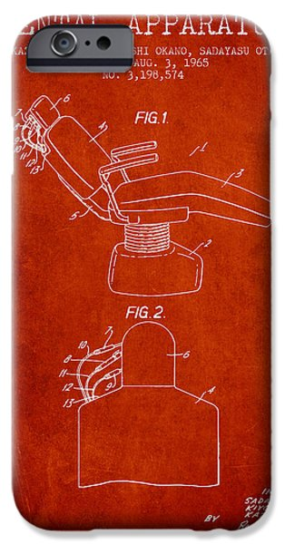 Surgery iPhone Cases - Dental Apparatus patent from 1965 - Red iPhone Case by Aged Pixel