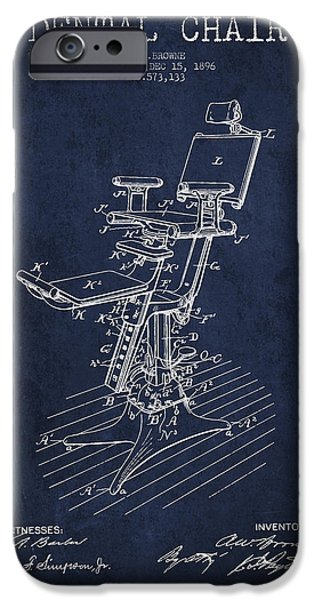 Surgery iPhone Cases - Dental Chair Patent drawing from 1896 - Navy Blue iPhone Case by Aged Pixel
