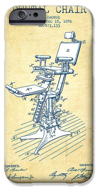 Surgery iPhone Cases - Dental Chair Patent drawing from 1896 - Vintage Paper iPhone Case by Aged Pixel