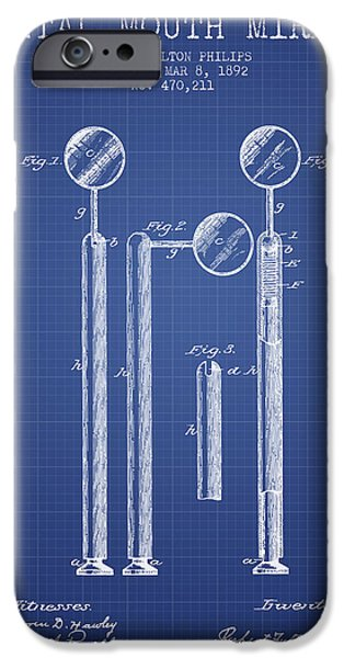 Surgery iPhone Cases - Dental Mouth Mirror Patent From 1892  - Blueprint iPhone Case by Aged Pixel