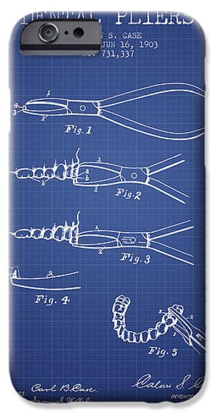 Surgery iPhone Cases - Dental Pliers Patent From 1903 - Blueprint iPhone Case by Aged Pixel