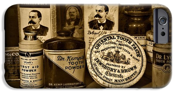 Kemp iPhone Cases - Dentist  -  Tooth Powder and More in black and white iPhone Case by Paul Ward