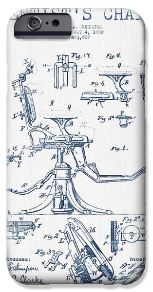 Surgery iPhone Cases - Dentist Chair Patent drawing from 1892 - Blue Ink iPhone Case by Aged Pixel