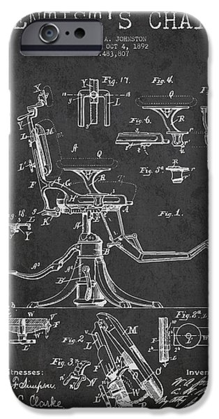 Surgery iPhone Cases - Dentist Chair Patent drawing from 1892 - Dark iPhone Case by Aged Pixel
