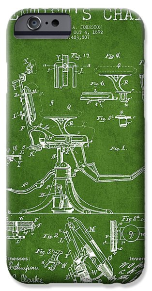 Surgery iPhone Cases - Dentist Chair Patent drawing from 1892 - Green iPhone Case by Aged Pixel