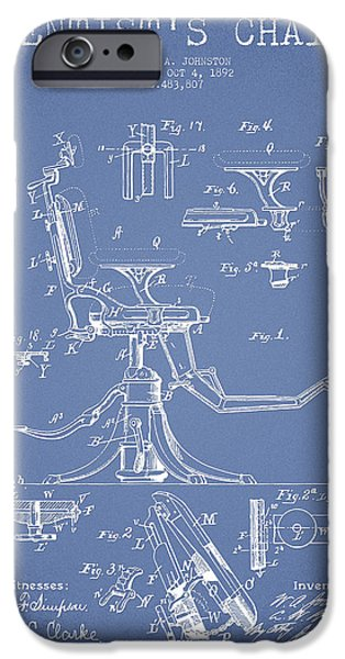 Surgery iPhone Cases - Dentist Chair Patent drawing from 1892 - Light Blue iPhone Case by Aged Pixel