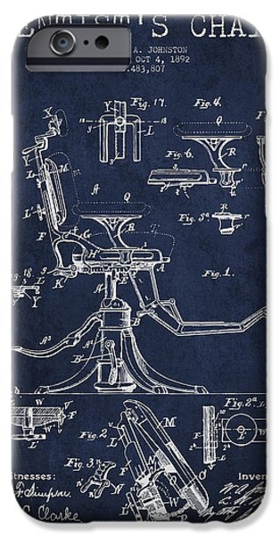 Surgery iPhone Cases - Dentist Chair Patent drawing from 1892 - Navy Blue iPhone Case by Aged Pixel