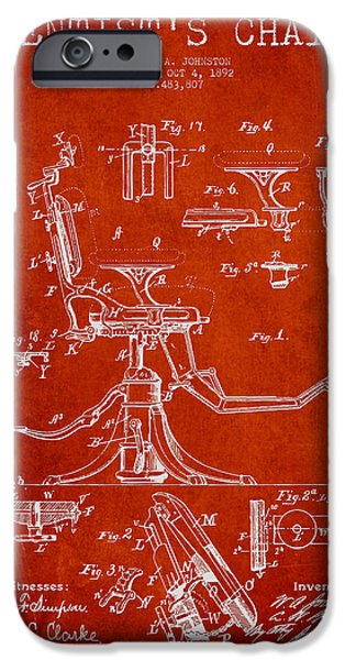 Surgery iPhone Cases - Dentist Chair Patent drawing from 1892 - Red iPhone Case by Aged Pixel