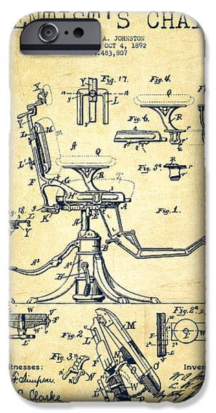Surgery iPhone Cases - Dentist Chair Patent drawing from 1892 - Vintage iPhone Case by Aged Pixel