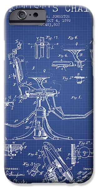 Surgery iPhone Cases - Dentist Chair Patent from 1892 - Blueprint iPhone Case by Aged Pixel