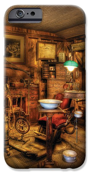 Interior Scene iPhone Cases - Dentist - The Dentist Office iPhone Case by Mike Savad