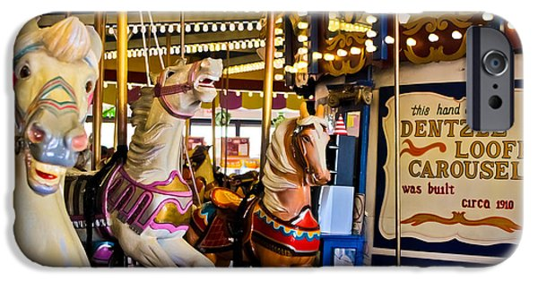 Casino Pier iPhone Cases - Dentzel Looff Antique Carousel  iPhone Case by Colleen Kammerer