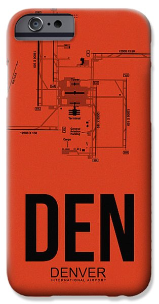 Denver Colorado iPhone Cases - Denver Airport Poster 2 iPhone Case by Naxart Studio