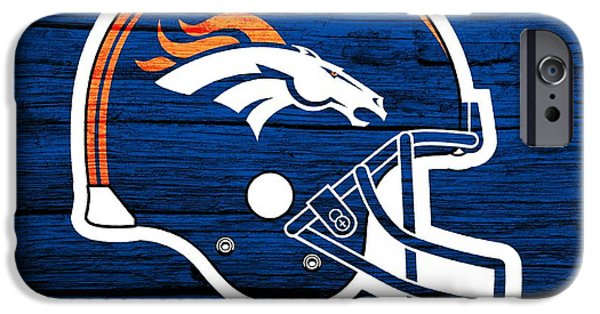 Recently Sold -  - Old Barns iPhone Cases - Denver Broncos Football Helmet On Worn Wood iPhone Case by Dan Sproul