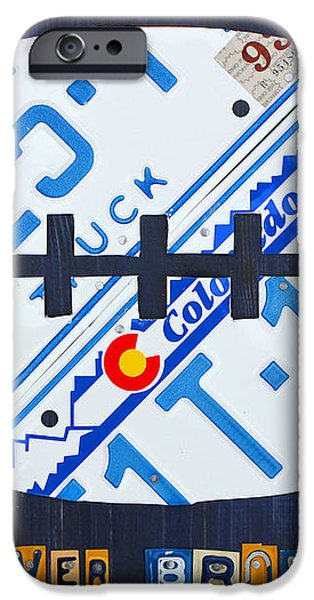 Denver Broncos Football License Plate Art iPhone Case by Design Turnpike
