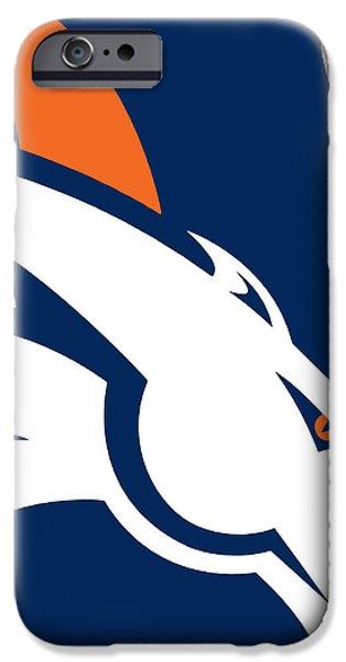 Champion Mixed Media iPhone Cases - Denver Broncos Football iPhone Case by Tony Rubino