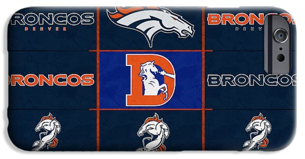 Broncos. Denver Broncos iPhone Cases - Denver Broncos Uniform Patches iPhone Case by Joe Hamilton