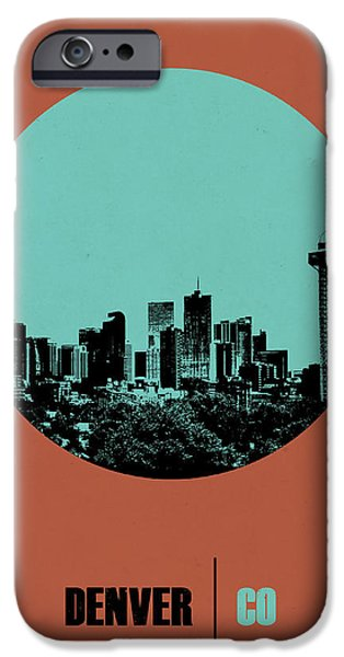 Denver Colorado iPhone Cases - Denver Circle Poster 1 iPhone Case by Naxart Studio